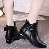 裸靴單鞋女新款春秋季女鞋粗跟尖頭女短靴子中跟女粗跟裸靴618購