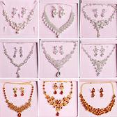 新娘皇冠三件套裝婚紗飾品頭飾結婚禮首飾項錬耳環婚慶配飾韓式 薔薇時尚