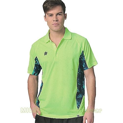 MILD STAR 男女吸濕排汗短POLO衫-LS180849-螢綠迷彩