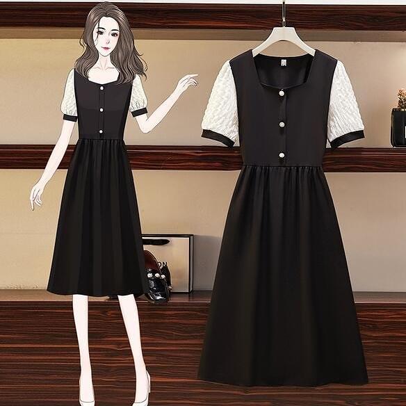洋裝 連身裙 M-4XL胖mm短袖法式方領洋氣減齡顯瘦長款連身裙3F141.1251 胖胖唯依