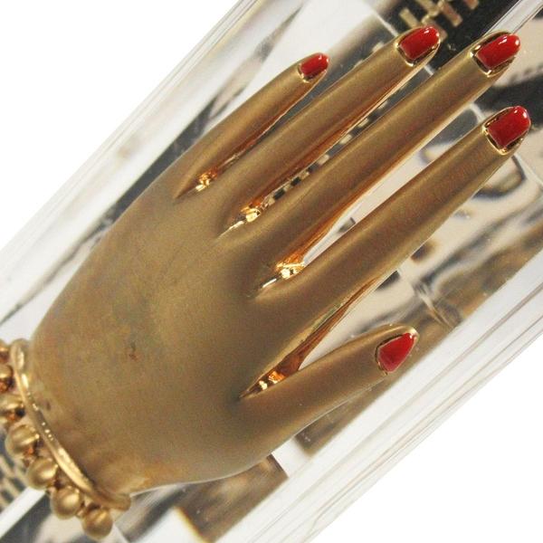 Charlotte Olympia 夏洛特·奧林匹亞 透明壓克力金手掌釦手拿包 (附三個拉鍊袋)