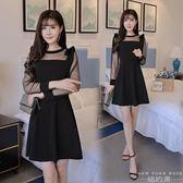 洋裝 性感透視夜店網紗長袖連身裙女a字裙小黑裙