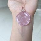 巴西冰種玫瑰花粉晶吊墜925銀扣瑞麗女款