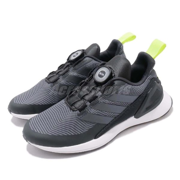 adidas 慢跑鞋 RapidaRun BOA K 黑 灰 白 免綁鞋帶 女鞋 大童鞋 運動鞋 【PUMP306】 D97011