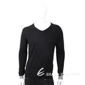 TRUSSARDI V領撞色細節皮革標黑色針織衫 1810248-01
