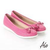 A.S.O 輕量休閒 全真皮壓紋蝴蝶結飾休閒鞋 桃粉紅