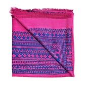 【台中米蘭站】全新品 Louis Vuitton 花卉圖騰撞色羊毛圍巾/披肩(M78691-桃紅)