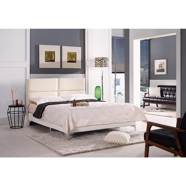 安蒂5尺雙人床(白色皮)(18CM/160-6)【DD House】