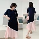 洋裝 連身裙女2021新款春夏顯瘦氣質大碼小眾長裙子過膝短袖寬鬆長裙女 T恤裙