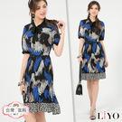 LIYO理優蝴蝶領結設計雪紡洋裝E716008