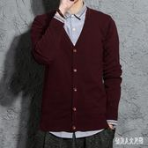 針織外套針織開衫秋季薄款男士毛衣韓版V領寬鬆潮 zm8963『俏美人大尺碼』
