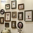 歐式實木照片牆組合美式複古做舊相框牆創意...