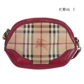 【巴黎站二手名牌專賣店】*現貨*BURBERRY 真品*紅色皮革邊經典戰馬格紋斜背包手拿包