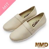 【Normady 諾曼地】自然系純色平紋真皮球囊氣墊懶人鞋-MIT手工鞋(白嫩膚)