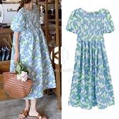 孕婦夏裝碎花裙子套裝夏天小清新歐美風連身裙外出時尚【Kacey Devlin】