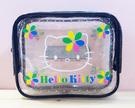 【震撼精品百貨】Hello Kitty 凱蒂貓~Hello Kitty日本SANRIO三麗鷗KITTY透明化妝包/筆袋-黑花*83588