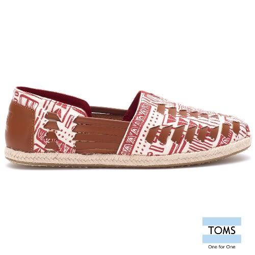 TOMS 皮繩編織懶人鞋-女款(10007594   RED)