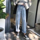 春季新款韓版BF風學生顯瘦寬鬆百搭高腰闊腿褲牛仔褲女直筒長褲潮     麥吉良品