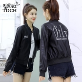 皮衣女短款2019春裝新款韓版修身女士機車皮夾克字母棒球服短外套