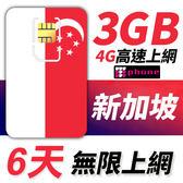 新加坡 6天 前3GB支援4G高速 無限上網 插卡即用