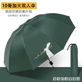 十骨大雨傘摺疊晴雨兩用大號反向防曬傘太陽傘女遮陽防曬防紫外線 居家物语