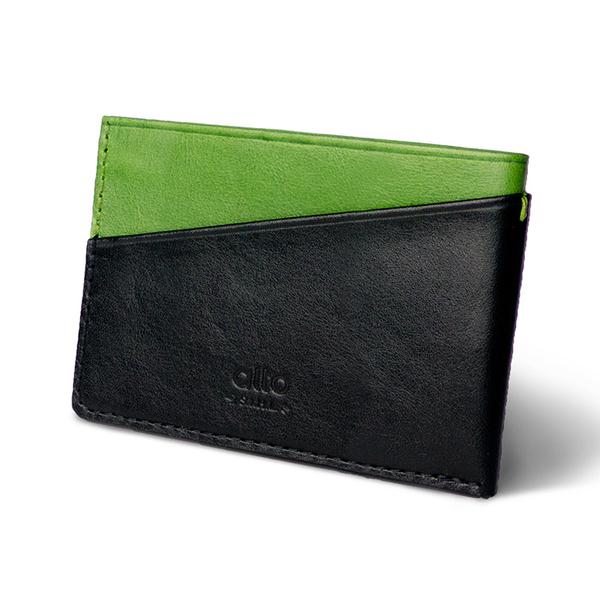 輕便名片夾 Slim Card Holder - 萊姆綠/渡鴉黑【可加購客製雷雕】卡夾 鈔票夾