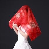 2019新款蕾絲新娘蓋頭紅頭紗短結婚復古百搭中式刺繡婚紗喜帕蓋頭