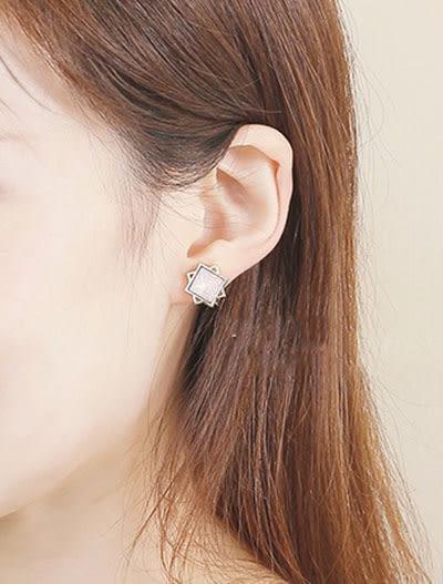 正韓方塊星星水鑽夾式耳環~夏綠蒂didi-shop