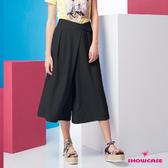 【SHOWCASE】交叉腰釦簡約素面顯瘦七分寬褲(黑)