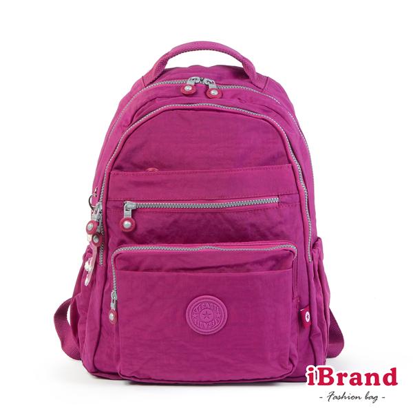 【i Brand】經典百搭超輕盈多口袋後背包-桃紫色 TGT-1604-紫紅