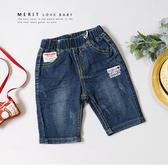 美式復古英文貼布標綠紅黃皮革釦牛仔褲 丹寧 口袋 抓破 織標 休閒 短褲 牛仔短褲 男童短褲