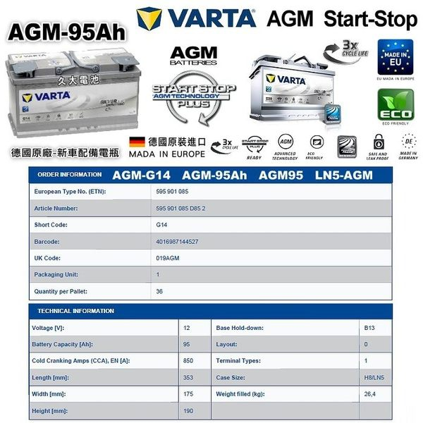 ✚久大電池❚ 德國進口 VARTA G14 AGM 95Ah 寶馬 BMW 328i Gt F34 2012~2016