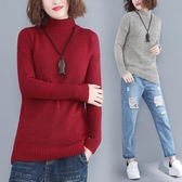 慵懶風秋冬保暖針織打底衫女 韓版寬鬆顯瘦純色高領毛線毛衣女