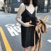 背帶裙氣質顯瘦PU皮吊帶連身裙女秋季韓版百搭寬鬆中長款背帶裙新品