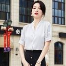 V領拼接蕾絲端莊氣質短袖襯衫[21S041-PF]美之札