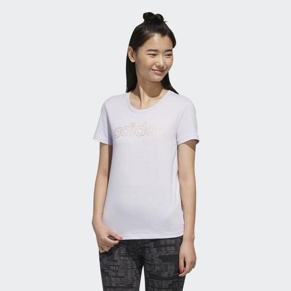 J-adidas ESSENTIALS BRANDED 短袖 休閒 運動 女款 透氣 舒適 白金 大字樣 FL9290