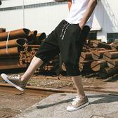 YAHOO618◮夏季短褲男士亞麻七分褲薄款韓版潮流寬鬆休閒大碼棉麻沙灘7分褲 韓趣優品☌