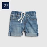 Gap 嬰兒 時尚水洗鬆緊腰牛仔短褲 542639-中度水洗