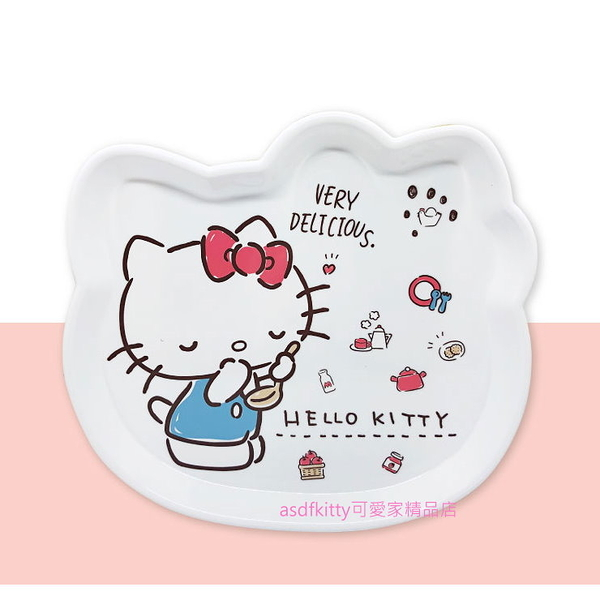 asdfkitty可愛家☆KITTY藍色吊帶褲頭型托盤-小-餐盤/水果盤/甜點盤/置物盤-韓國正版商品