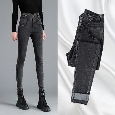 高腰緊身牛仔褲女小腳褲秋冬季新款彈力修身顯瘦黑色鉛筆褲子女T328 韓依紡