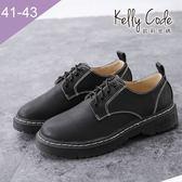 大尺碼女鞋-凱莉密碼-復古學校風經典素面簡約牛津鞋3cm(41-43)【APA-3】黑色