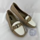 BRAND楓月 LOUIS VUITTON 路易威登 LV 白X奶茶色 金LOGO 包鞋 平底鞋 娃娃鞋 #35