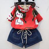 兒童上衣 兒童韓版百搭紅可愛卡通辮子女孩短袖T恤女童裝夏裝新款潮款0158