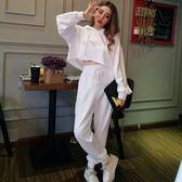 2018秋季新款韓版女裝連帽寬松套頭衛衣 高腰寬松長褲休閒套裝女