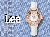 【時間道】LEE 時尚晶鑽鏤空皮帶腕錶 /白面白皮 (LEF-F17DRL7-7R)免運費