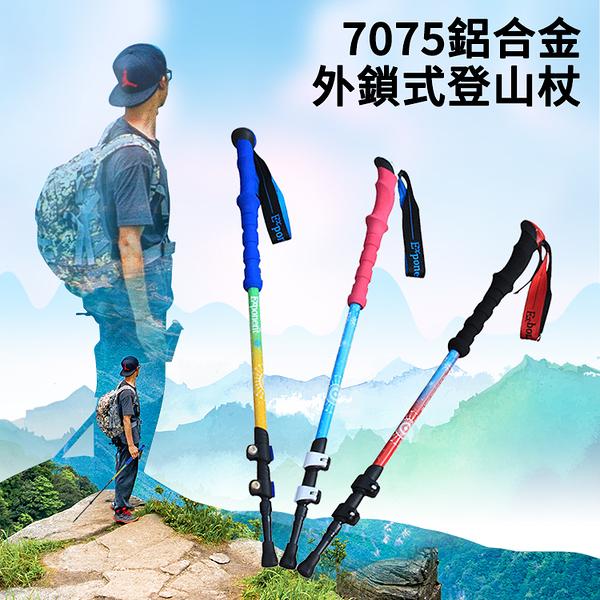 ★最新款 7075鋁合金外鎖式登山杖 (1入) 超輕270g 爬山杖 健行杖 三節登山杖 手杖 拐杖 快扣登山杖