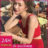 梨卡★現貨 - 韓國性感 [搶眼撞色+高腰遮肚]針織比基尼 - 純色顯瘦兩件式泳裝泳衣CR104