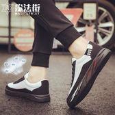 夏季男鞋子透氣帆布鞋板鞋休閒英倫潮鞋 魔法街