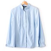 【MASTINA】長袖壓褶襯衫-藍 秋冬嚴選