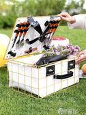 戶外野餐籃子鐵藝ins籃子帶蓋保溫防水水果零食收納籃大號手提籃  港仔會社